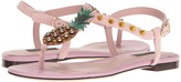 Dolce & Gabbana Suede Thong Sandal with Pineapple Detail Women's Sandals