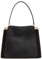 Lulu Guinness Women's Collette Large Leather and Suede Shoulder Bag Black