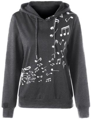 TUDUZ Womens Casual Sport Long Sleeve Hoodie Musical Note Print Jumper Pullover Hooded Sweatshirt Blouse Coats (Gray L2)