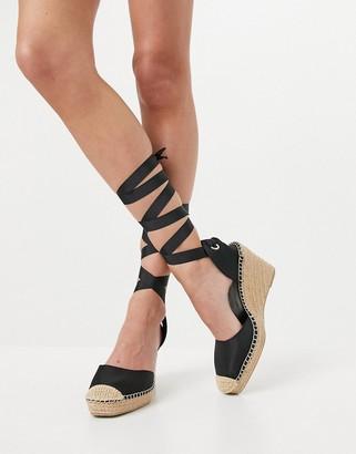 ASOS DESIGN Tori tie leg espadrille wedges in black