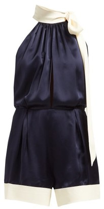 Odyssee - Claret Contrast-panel Tie-neck Satin Playsuit - Womens - Navy