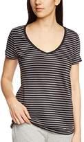Marc O'Polo Body & Beach Women's Striped V-Neck Short Sleeve T-Shirt - Black -