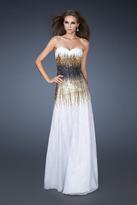 La Femme 18592 Strapless Tri-Color Sparkle Evening Gown