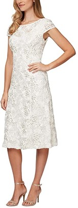 Alex Evenings Tea Length A-Line Rosette Dress (Ivory/Gold) Women's Dress