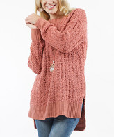 Ash Lydiane Women's Pullover Sweaters ASHROSE Rose Stripe-Popcorn Side-Slit Sweater - Women