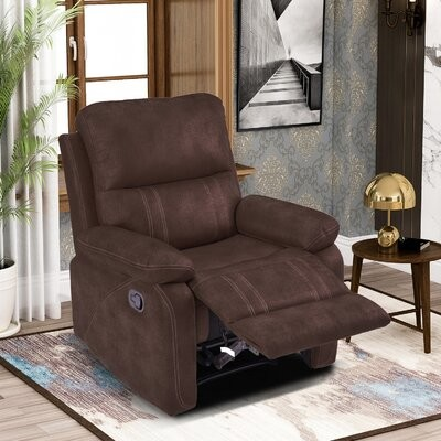 """Thumbnail for your product : Red Barrel Studio Devario 34"""" Wide Faux Leather Manual Standard Recliner Fabric: Dark Brown"""