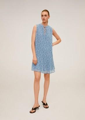 MANGO Pleated floral dress blue - 2 - Women
