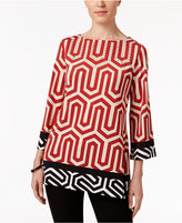 JM Collection Petite Printed Ballet-Neck Tunic, Only at Macy's