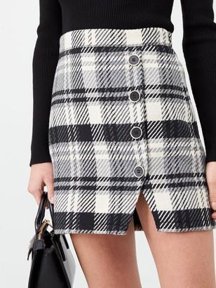River Island Check Print Button Detail Mini Skirt- Monochrome