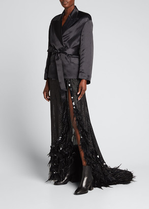 Dries Van Noten Feather-Trim Sequined Maxi Skirt