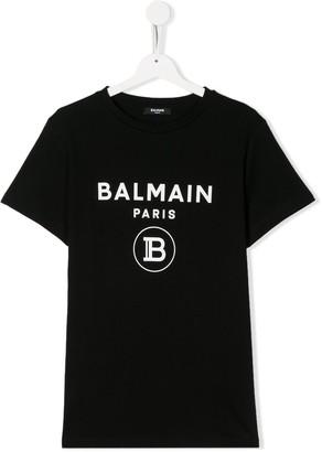 Balmain Kids TEEN logo print crew neck T-shirt