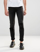 Cheap Monday Tight Skinny Jeans Forever Black Distress Repair
