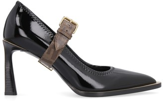 Fendi Fframe Leather Pointy-toe Mary-jane Pumps