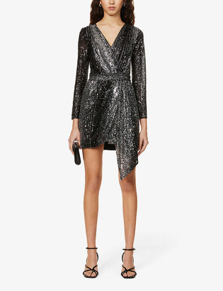 Maje Rileta wrap-over sequinned mini dress