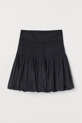 H&M Smocked-waist Puff Skirt - Black