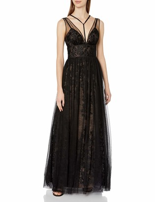 Vera Wang Women's Sleeveless Vneck Lace Gown with Overlay and Tie Neck Detail