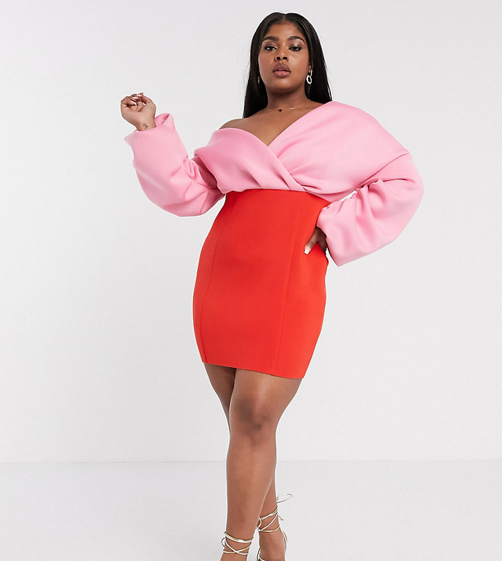 ASOS DESIGN Curve fallen shoulder pleated puff sleeve pencil contrast mini dress in red & pink