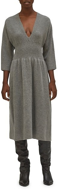 Equipment Channing V-Neck Wool A-Line Dress