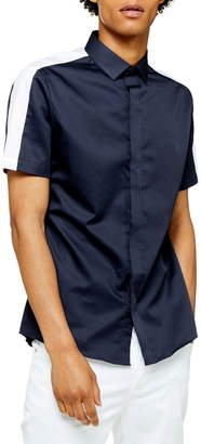 Topman Slim Fit Short Sleeve Button-Up Shirt