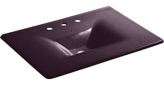 Kohler Iron/Impressions 31-in Vanity-Top Bathroom Sink with 8-in Widespread Faucet Holes Top Finish: Black Plum