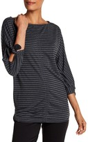 Max Studio Striped Tie Sleeve French Terry Tunic