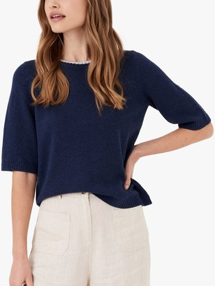 Brora Metallic Trim Elbow Sleeve Cotton Jumper