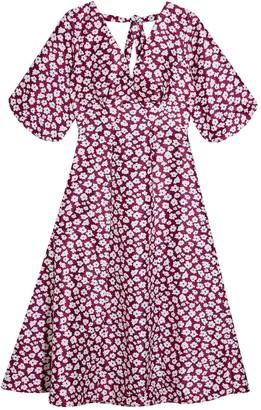 Topshop Daisy Print Puff Midi Dress