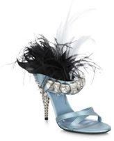 Prada Jeweled Feather-Trim Satin Mules