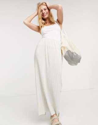 Weekday Wass thin pleat maxi skirt in cream