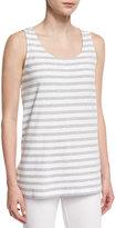 Joan Vass Striped Long Cotton Shell, Plus Size