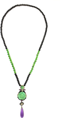 Wendy Yue 18K White Gold Diamond, Rhodolite, and Turquoise Necklace