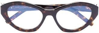 Saint Laurent Eyewear Cat-Eye Frame Tortoiseshell Optical Glasses