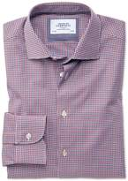 Charles Tyrwhitt Extra Slim Fit Semi-Spread Collar Business Casual Gingham Red and Navy Cotton Dress Casual Shirt Single Cuff Size 14.5/32