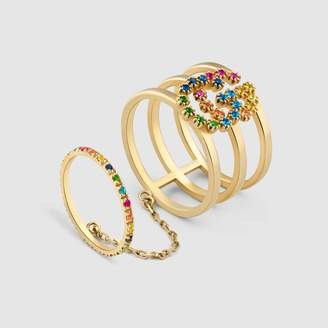 Gucci GG Running double ring with multicolor stones