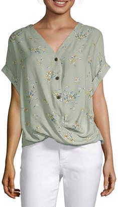 A.N.A Womens V Neck Short Sleeve Blouse