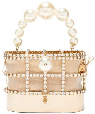 Rosantica Holli Crystal-embellished Cage Handbag - Gold Multi