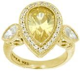 Judith Ripka Sterling 14K Clad Pear-Shaped Diamonique Ring