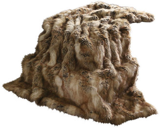 """Best Home Fashion Luxe Faux Fur Throw Blanket, Amber Fox, 58""""x84"""""""