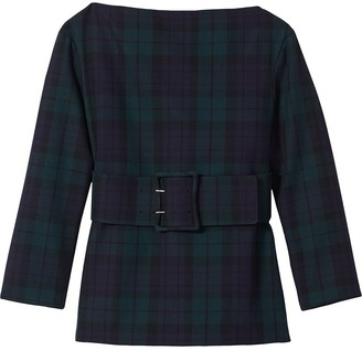 Marc Jacobs Check Print Wool Blouse
