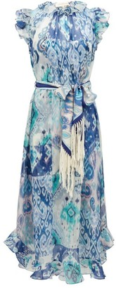 Zimmermann Glassy Ruffled Ikat-print Cotton-blend Midi Dress - Blue Print