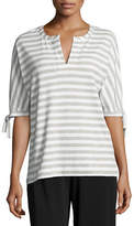 Joan Vass Striped Tie-Cuff Tunic, Petite
