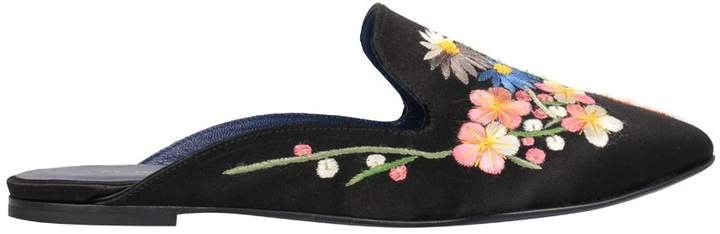 Amen Embroidered Satin Slippers