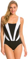 Longitude Colorblock Faux Plunge Tank One Piece Swimsuit 8138688