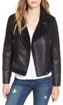Blank NYC Women's Blanknyc Faux Leather & Denim Moto Jacket With Faux Shearling Lining