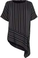 River Island Womens Navy stripe print asymmetric hem T-shirt