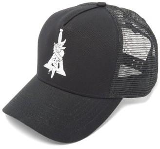 Amiri Dagger-embroidered Cotton Trucker Cap - Mens - Black