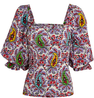 Rhode Resort Alicia Puff Sleeve Paisley Top