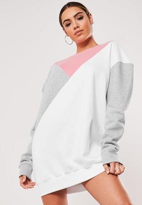 Missguided Petite Grey Colour Block Triangle Sweater Dress
