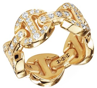 Hoorsenbuhs Dame Classic Antiquated Tri-Link 18K Yellow Gold & Full Diamond Pave Ring