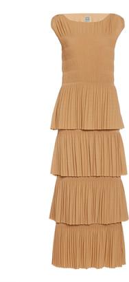 Totême Aramon Tiered Pleated Crepe Maxi Dress